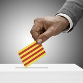 Black Male Holding Flag. Voting Concept - Catalonia