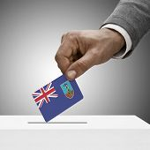 Black Male Holding Flag. Voting Concept - Montserrat