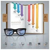 Education And Graduation Infographic With Line Arrow Bookmark Diagram