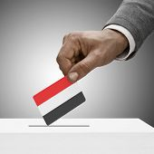 Black Male Holding Flag. Voting Concept - Yemen
