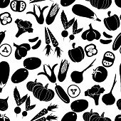 Simple Black Vegetables Icons Seamless Pattern Eps10