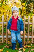 Autumn portrait of acute toddler boy wearing funny hat