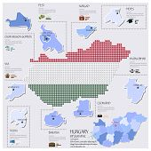 Dot And Flag Map Of Hungary Infographic Design