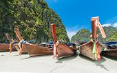 picture of phi phi  - boats at Maya bay Phi Phi Leh island - JPG