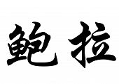 English Name Bora In Chinese Calligraphy Characters