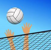 pic of volleyball  - Volleyball Player Hands Over The Net With Ball - JPG
