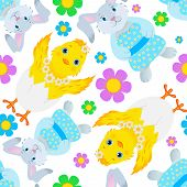 Seamless Pattern with Rabbits and Chickens