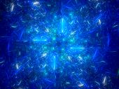Blue Glowing Lines In Space Fractal