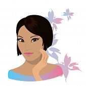 Pretty Young Asian Woman  Isolated In White.  Vector Illustration