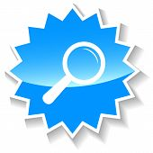 Magnifying glass blue icon