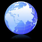 stock photo of earth structure  - Illustration of earth globe on black background - JPG