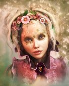 stock photo of fairyland  - 3d computer graphics of a Girl with colored flowers in her hair - JPG
