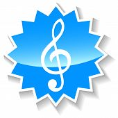 Treble clef blue icon