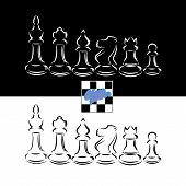 Black and white chessmen chess design