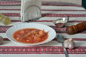 Borsch Served On Embroidered Tablecloth