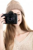 Beautiful Teenage Girl Taking Pictures With Digital Camera
