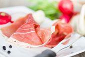 picture of smoked ham  - smoked ham on white plate close up - JPG