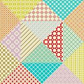 Retro patchwork. 16 Vector seamless patterns. Endless texture
