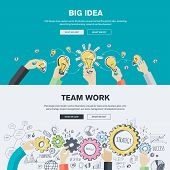 foto of team  - Flat design illustration concepts for big idea - JPG