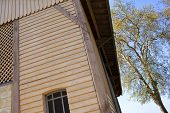 foto of chalet  - Wooden facade of a chalet in French countryside - JPG