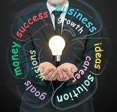 Businessman Holding Bulbs