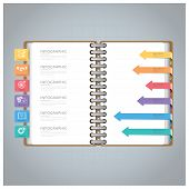 Business Infographic With Ring Notebook Arrow Bookmark Diagram