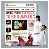 Aesthetic And Beauty Newspaper Lay Out With Cosmetic