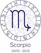 Zodiac Sign - Scorpio. Astrological Symbol In Wheel With Polygonal Background.