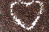heart from roast coffee beans  isolated