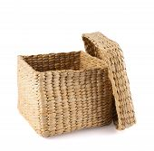 Box shaped wicker basket isolated