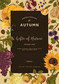 Autumn harvest. Vector vintage card.