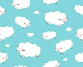 Seamless pattern. White sheep and cloud on the blue sky