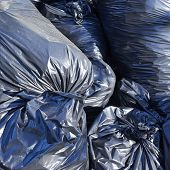 Pile of full garbage bags