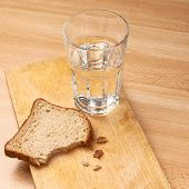 Glass of water and bread