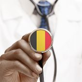 Stethoscope With National Flag Conceptual Series - Belgium