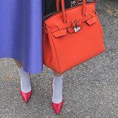 Detail Of A Bag Outside Gucci Fashion Show Building For Milan Women's Fashion Week 2015