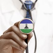 Stethoscope With National Flag Conceptual Series - Lesotho