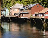 stock photo of brothel  - Creek street in Ketchikan Alaska once the red light district now shops - JPG