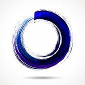 Deep blue brush painted watercolor circle