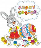 foto of cony  - Little rabbit and a colorfully painted Easter egg - JPG
