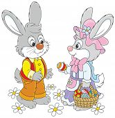 picture of cony  - Little rabbits with a basket of Easter eggs - JPG