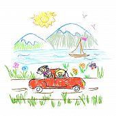 Happy family trip  doodle