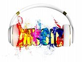 explosion of transparency color liquid from the headphones. blasted word music. each color is assign