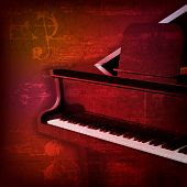 image of grand piano  - abstract red sound grunge background with grand piano - JPG