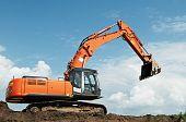 Loader Excavator At Construction Works