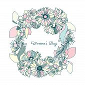 Women's day, flower wreath