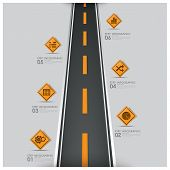 pic of road trip  - Road And Street Traffic Sign Business Infographic Design Template - JPG