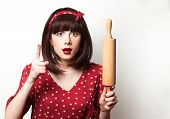 Housewife Red Dress With Rolling Pin