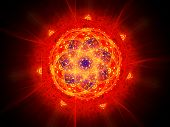 Colorful Vibrant Fiery Magic Mandala In Space