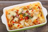 picture of pumpkin pie  - Casserole with bacon cheese pumpkin and pepper in baking dish - JPG